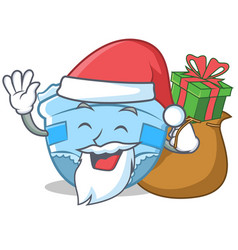 Santa with gift baby diaper character cartoon vector