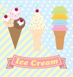 Vintage ice cream set vector