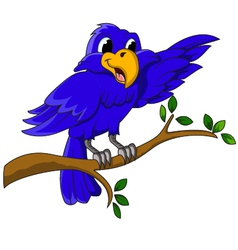 Blue bird cartoon character sitting on a branch vector