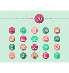 Hipster flat icons set vector image