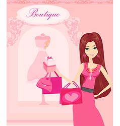 Beautiful women shopping vector