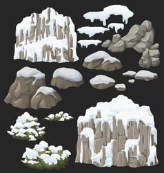 Snow hill rock and bushes vector