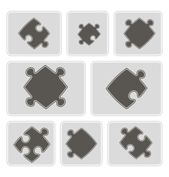 Monochrome icons with puzzle vector