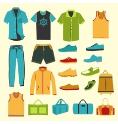 Set of men clothes and accessories icons vector