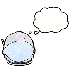 Cartoon astronaut face with thought bubble vector