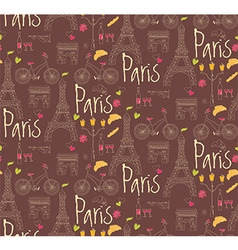 Paris symbols postcard seamless pattern vector