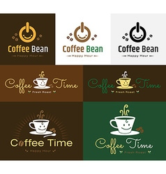 Set of retro coffee badge label logo design vector