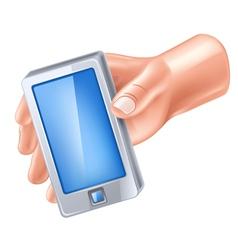Smart phone in hand vector