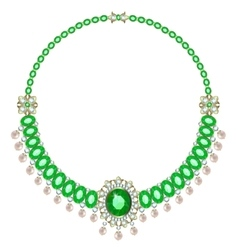 Necklace with emeralds vector