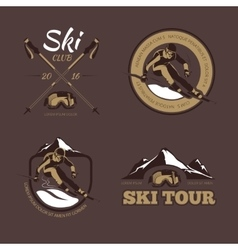Nordic skiing emblems labels badges vector