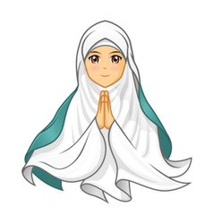 Muslim woman wearing white veil with welcoming arm vector
