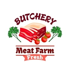 Bacon or pork meat label for butcher shop design vector