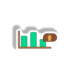 Bar graph inpaper sticker vector