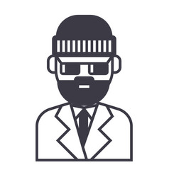 beard man in suite line icon sign vector image