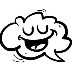 black and white happy freehand drawn cartoon cloud vector image vector image