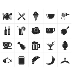 Black Food drink and restaurant icons vector image vector image