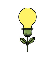 Bulb plant with leaves to save environment vector
