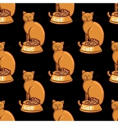 Cat with bowl on black background vector