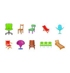 chair icon set cartoon style vector image