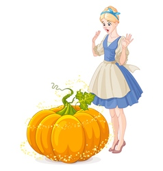 Cinderella surprised by a magical pumpkin vector