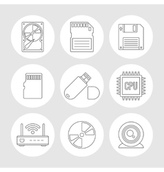 Data storage outline icons vector image vector image
