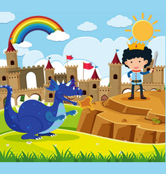 Fairytale scene with prince and blue dragon vector