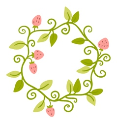 Floral Frame Cute retro berries wreath vector image vector image