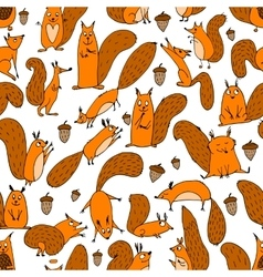 Funny squirrel with nut seamless pattern for your vector image vector image