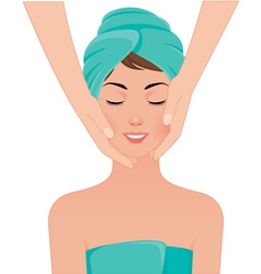 Girl gets a face massage in spa salon vector image