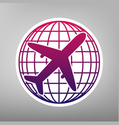 Globe and plane travel sign purple vector
