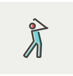 Golfer thin line icon vector