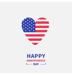 Heart shape american flag star and strip icon vector