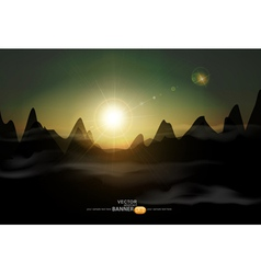 landscape with a rising sun and mountains vector image vector image