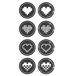 Love pixelated hearts retro labels set - vector