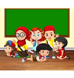 Many children in the classroom vector image vector image