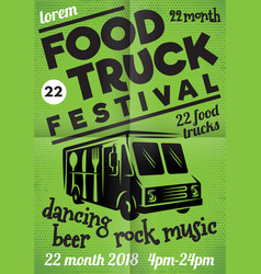 poster for street festival of fast food with wagon vector image