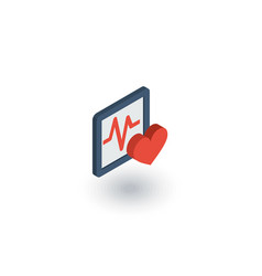 Pulse ecg cardiogram isometric flat icon 3d vector