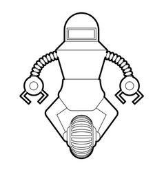 Robot guard icon outline vector