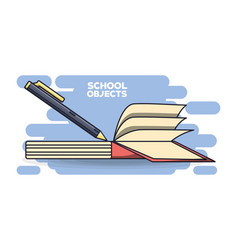 School supplies books education concept vector