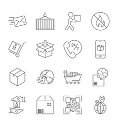 shipping and logistics icons with white background vector image