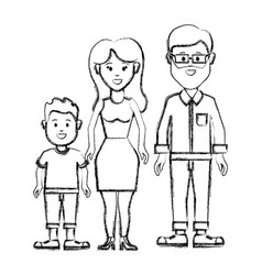 Silhouette couple with their son icon vector