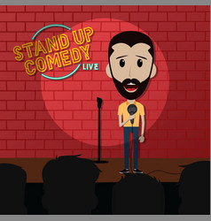 Stand up comedy comic guy on stage vector