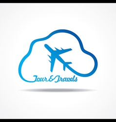 Tour and Tourism icon with cloud stock vector image