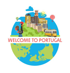 welcome to portugal promotional poster with local vector image