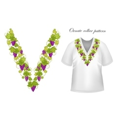 Neck print floral design fashion white vector