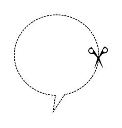 Cut scissor speech bubble lines figure vector
