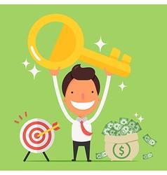 Businessman holding golden key secret of success vector