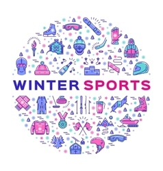 Winter sports infographics Color thin line icons vector image