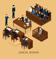 Isometric court session template vector