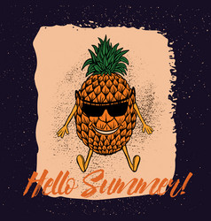 pineapple in the beach with suglass vector image